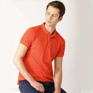 Men Orange Solid Polo Collar T-shirt