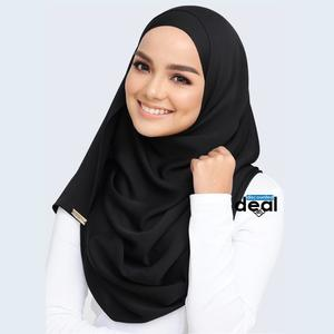 fashion all season women scarf thin shawls and wraps lady solid female hijab stoles long cashmere pashmina foulard head scarves black Plain Cotton Silk  Mix Stole Scarf For Women girls length 2.15 meter