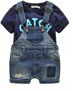 Summer Short Sleeves Baby Boy Clothing Jumpsuit T-Shirt And Denim Shorts