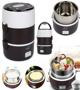 Electric 2L Portable Lunch Box Mini Rice Cooker Steamer 3 Layer Stainless Steel