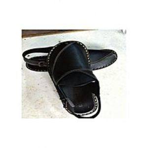 Bestee Black Leather Peshawari Sandals for Men