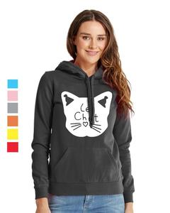 Rex Bazar - Black Le Chat Printed Hoodie For Women