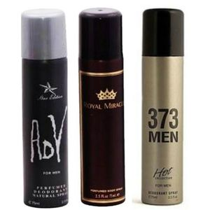 Pack of 3 Mens Body Sprays - 373 Men, Royal Mirage & AdY