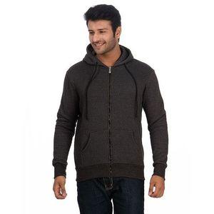 Charcoal Grey Cotton & Fleece Zipper Hoodie For Men
