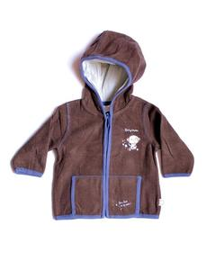Fancy Printed Velvet Brown Hoodie For Babies