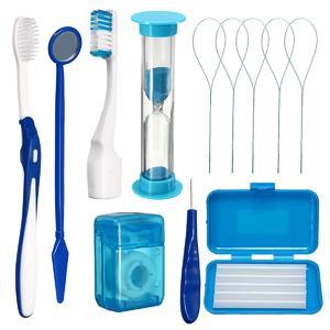 Dental Teeth Oral Cleaning Care Orthodontic Kits Brush Floss Thread Wax 8pcs/kit#Blue