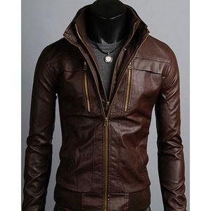 Brown-Faux Leather Poke Me Jacket-For Men