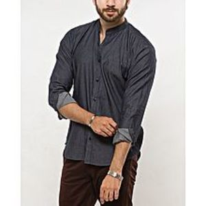 DenizenGrey Cotton Band Shirt for Men- Special Online Price