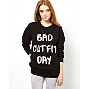 Brand X T-Shirts Black Fleece  Bad Outfit Printed Sweatshirt For Women