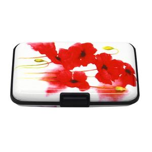LIVA GIRL - Casual Women Red Flower Print RFID Anti-theft Business Card Credit Card Box