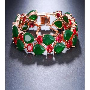 Red and Green Rose Gold Plated Cubic Zirconia Bangle Bracelet