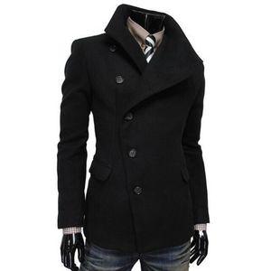 Black Cotton Button Coat for Men