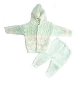3 Pcs Green Hood Sweater Set for Newborn