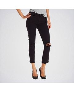 The Ajmery Womens Black Ankle Straight Jeans