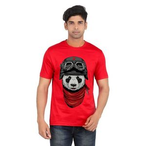Ace Red Cotton Panda Printed T- Shirt for Men