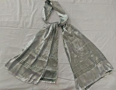 Silk Satin Scarves - shine grey