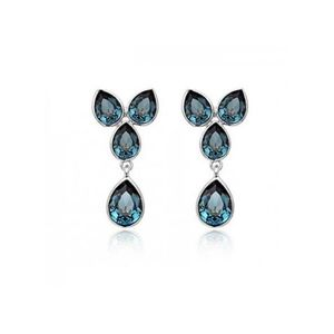 Zewraat 18K Gold Plated Earring With Beautiful Blue Zircon Crystals
