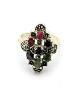 Emerald Sapphire and Ruby Stone Silver Ring GB(5)4393