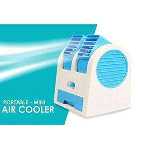 Mini USB AC Fragrance Air Conditioner Cooling Fan Cooling Portable Desktop Dual Bladeless Air Cooler- Multicolour.