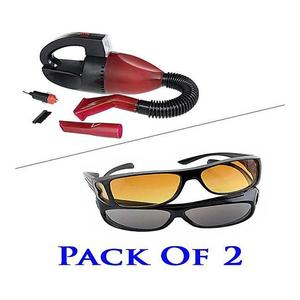 2Pcs HD Vision Day and Night Driving Glasses & Car Auto Vacuum Cleaner With LED Light
