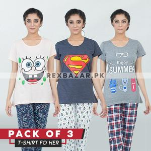 Pack of 3 Multicolour Printed T.Shirts For Women