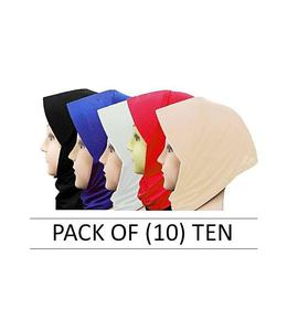 Pack of 10 Multicolor Color Hijab Cap for Women