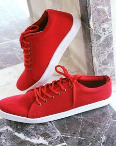 Red Canvas Stylish Sneakers For Men