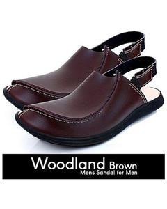 Brown Leather Traditional Peshawari Sandals For Men