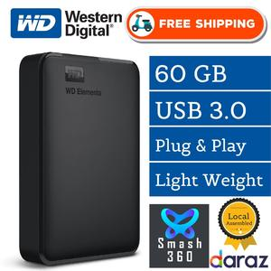 USB 3.0 WD Element External Portable With Solid-state drive KingDian 60GB SSD