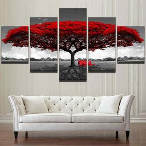 Home Decor Canvas Print Painting Wall Art Modern Red Tree Scenery Bench Gift #10x15x2 10x20x2 10x25