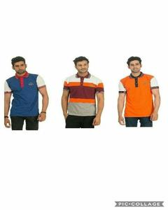 Multi-Color Cotton Striped Polo T-Shirt For Men - Pack Of 3 - Medium