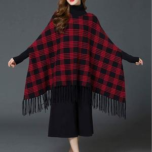 Stylish Winter Checkered Ponchu For Her- Maroon