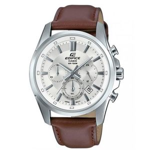 Stainless Steel Silver Chronograph Silver Dial Leather Band Watch For Men - Efr-560l-7avudf