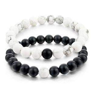 Black Agate Onyx White Bracelets Couple Hand Chain Natural Gemstone Valentine's  Gifts