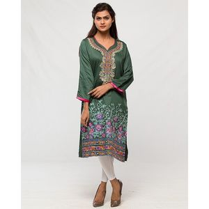 Aeys Olive Green Cotton Embroidered Kurta For Women