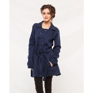 Buysense Navy Blue Cotton Blue Winter Western Style Long Coat With Front Pockets For Women