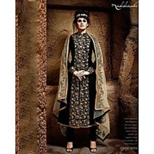 Nakkashi Black Bhagalpuri Jacket Style Suit With Embroidered Front Panel - Nakkashi-3024