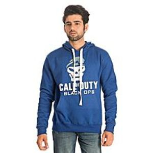 Al BuraqRoyal Blue Cotton & Wool Call of Duty Printed Hoodie for Men