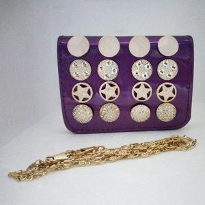 Purple Clutch Bag With Golden Stars & Coins Design Ladies Pouch Hand/Shoulder Bag