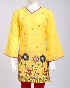 Yellow Embroidered Lenin Kurti for Girls