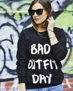 Black Bad Outfit Day Printed Sweatshirt for Women