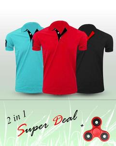 Pack of 3 - Multicolour Cotton Polo Tshirts - With Fidget Spinner