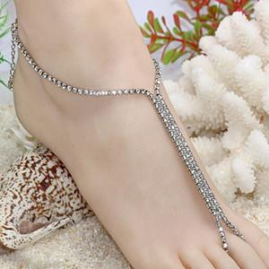 Silver Golden Bridal Barefoot Sandals Rhinestone Beach Anklets Chain Spark Jewelry