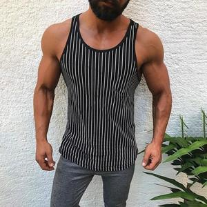 Rainbowroom Men Fitness Muscle Striped Print Sleeveless Bodybuilding Tight-drying Vest Tops