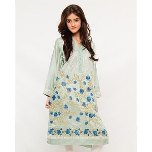 CARDINAL KNKE3  - Skyblue Embroidered Cotton Khadi Kurti For Women
