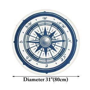 80cm Vintage Nautical Compass Bathroom Rug Nonslip Kitchen Floor Yoga Bath Mat Carpet