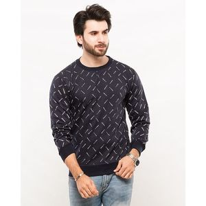 Navy Blue All Over Over Baseball Printed Sweat Shirt