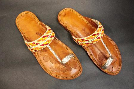 Golden Leather Slippers For Women