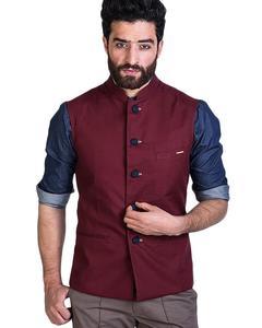Maroon Cotton Waistcoat For Men