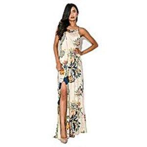 BluelifeWomen Flower Print Sleeveless Maxi Side Slit Dress -Multicolor
